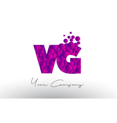 Vg v g dots letter logo with purple bubbles vector