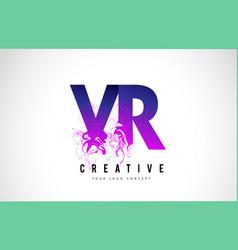 vr v r purple letter logo design with liquid vector image