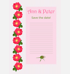 Wedding invitation with bouquet of red dog rose in vector