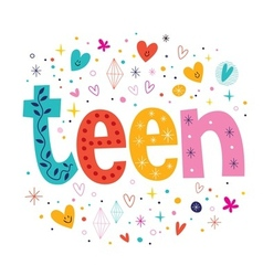 word teen retro typography lettering decorative vector image