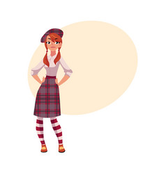 youn girl in traditional scottish clothes tartan vector image