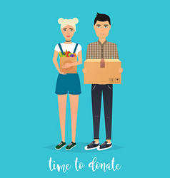 Young Couple makes donations Food and clothes vector image