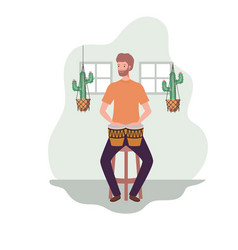 Young man with congas and houseplants on macrame vector