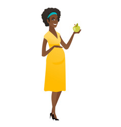 african-american pregnant woman holding apple vector image