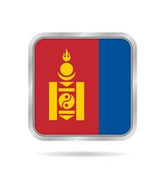 flag of mongolia metallic gray square button vector image