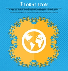 Globe icon sign Floral flat design on a blue vector image