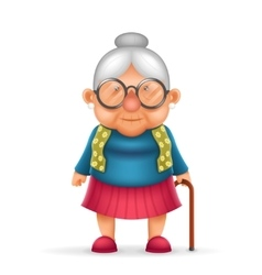 Granny Old Lady 3d Realistic Cartoon Character vector image