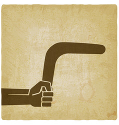 hand with boomerang old background vector image vector image