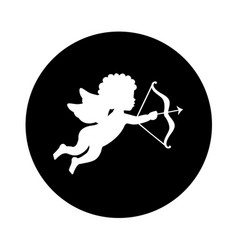 cupid angel silhouette icon vector image