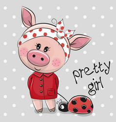 cute cartoon piggy girl in a red coat vector image vector image