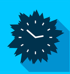 blue modern clock without numbers icon flat style vector image