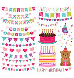 kid birthday party set vector image