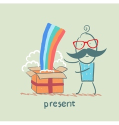 man received a gift with a rainbow vector image vector image