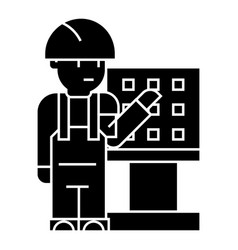 master - foreman - engineer with machine-tool icon vector image