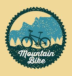 mountain bike grunge badge fun sport vector image