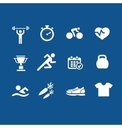 Set health and fitness icons vector image