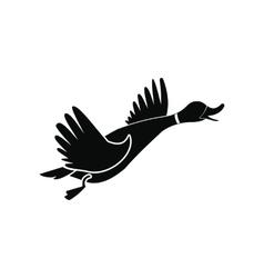 Wild duck black simple icon vector