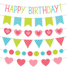 birthday party bunting flags set vector image vector image