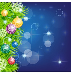 christmas background with baubles and christmas vector image