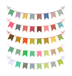 festive buntings with colorful flags vector image