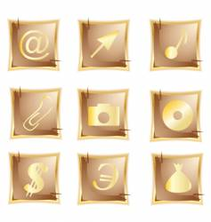 gold icon set vector image