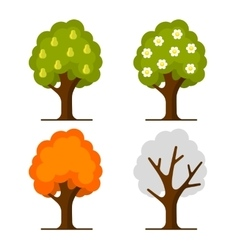 Pear Tree Set on White Background vector image vector image