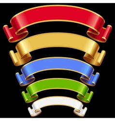 Ribbons set Multicolored banners isolated on black vector image
