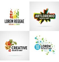 Set of modern colorful abstract logo emblem vector image vector image