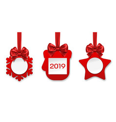 2019 new year paper decorations for fir tree vector image