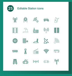 25 station icons vector