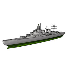 3d side view a military war ship on a white vector