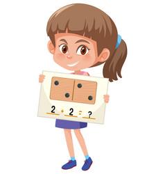 A girl holding math question card vector