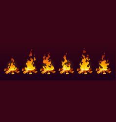 Animation fire burn on wood 2d effect cartoon vector
