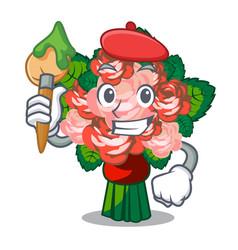 Artist flower bouquet on wooden cartoon table vector