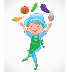Baby cook juggles vegetables vector image