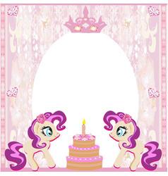 Birthday card with a cute unicorns vector