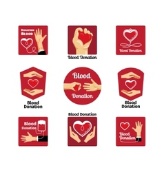 Blood donation labels and badges vector