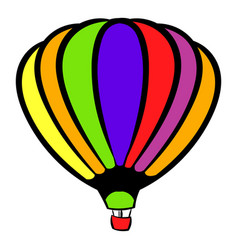 Bright air balloon icon icon cartoon vector