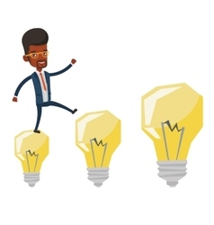 Businessman jumping on idea bulbs vector