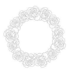 carnation flower outline wreath vector image