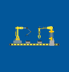 Cartoon automated machinery manufacturing vector