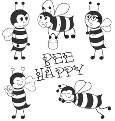 Cartoon Bees black set vector
