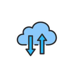 cloud computing data transfer flat color vector image