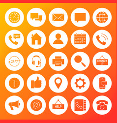 Contact us solid circle icons vector