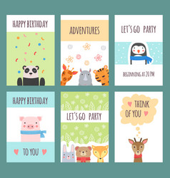 Cute animals cards design templates with baby vector