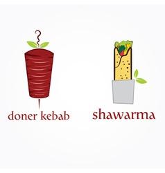 Doner kebab and shawarma vector