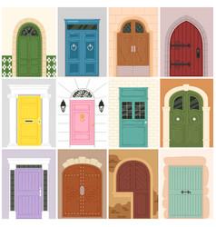 Doors vintage doorway front entrance wooden vector