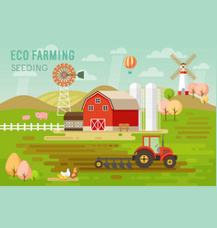 Eco farming concept with house and farm animals vector