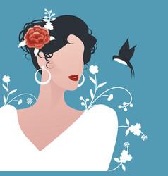 Elegant spanish woman wearing earrings flowers vector
