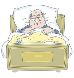 Fat man in pajamas and glasses sleeping in bed vector